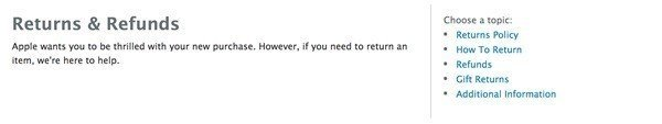 Screenshot of Apple Return and Refunds Page