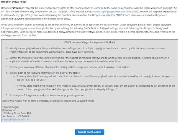 DMCA Notice in Dropbox Terms of Service