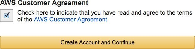 Amazon AWS I Agree To Customer Agreement Checkbox