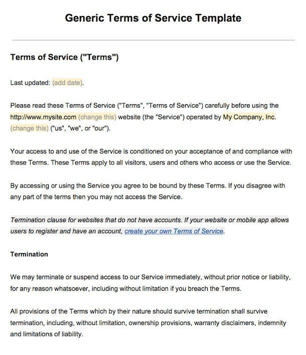 Example of Terms of Service - Screenshot
