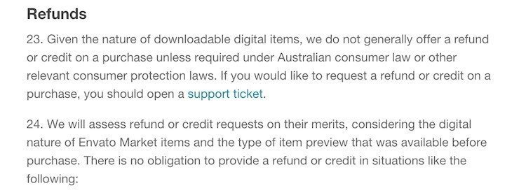 Envato Market Refunds Policy Screenshot