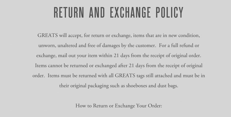 Greats Returns and Exchange Policy in Terms of Use