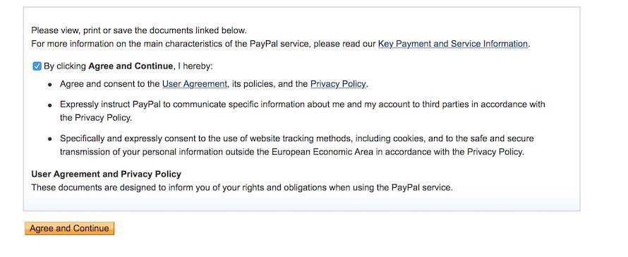 PayPal: Consent on User Agreement and Privacy Policy