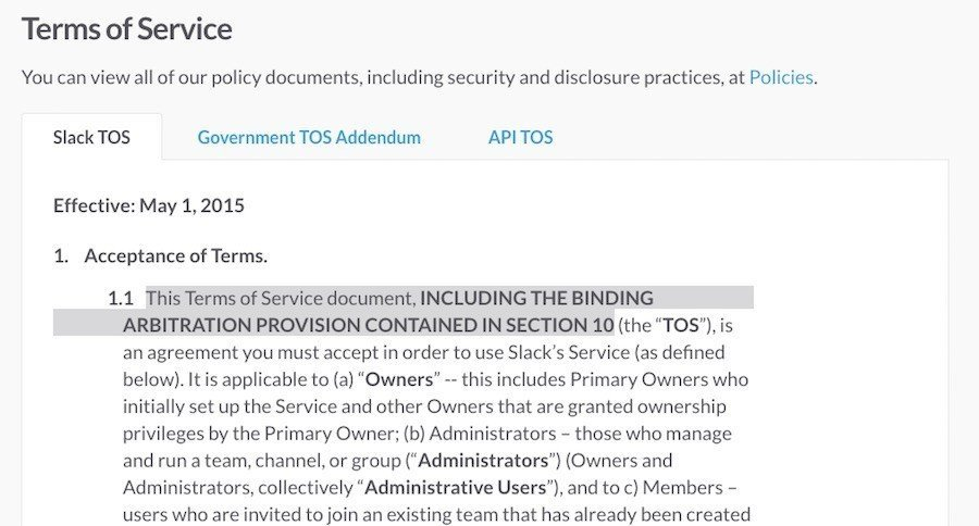 Slack Arbitration in Terms of Service