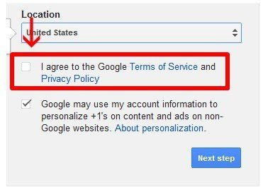 YouTube Check-box: I Agree To Terms Of Service and Privacy Policy