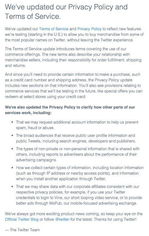 Twitter Email on Privacy Policy and Terms of Service Updates