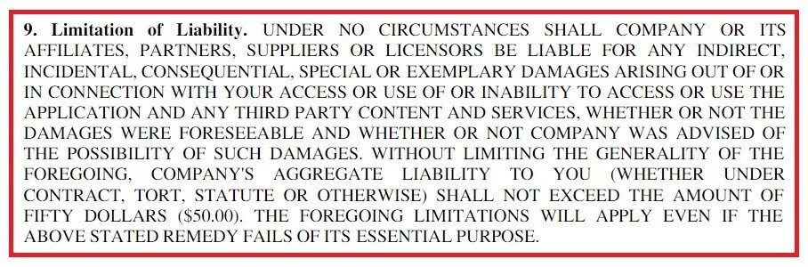 Example of Limitation of Liability Clause