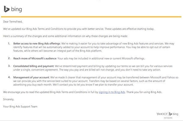 Bing Ads: Terms and Conditions Updated