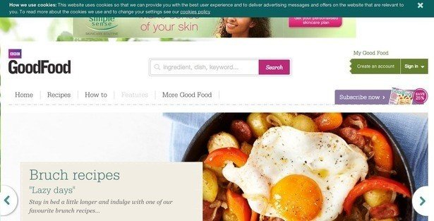 Example of Top Banner Pop-up from GoodFood
