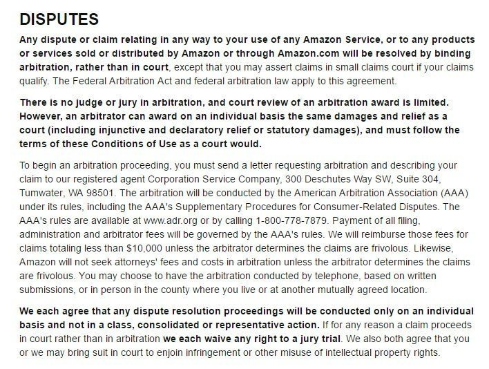 Amazon Conditions of Use: Arbitration and Disputes clause