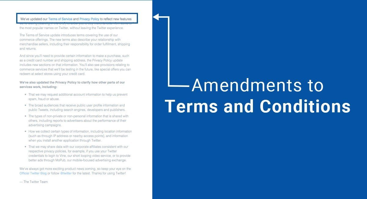 Amendments to Terms and Conditions