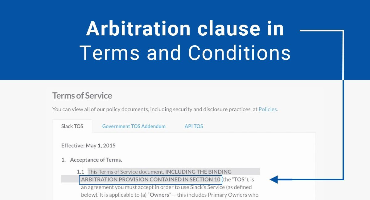 Arbitration clause in Terms and Conditions