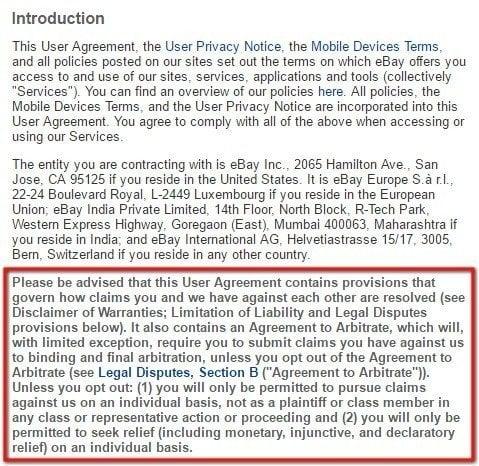 eBay User Agreement: Highlight arbitration clause