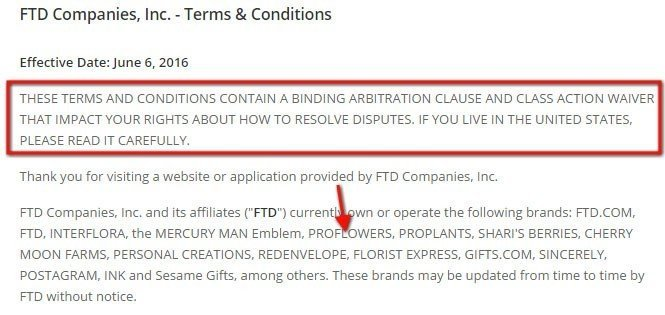 FTD Companies Terms and Conditions: Highlight arbitration