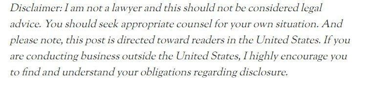 Example of legal advice disclaimer on Amy Lynn blog