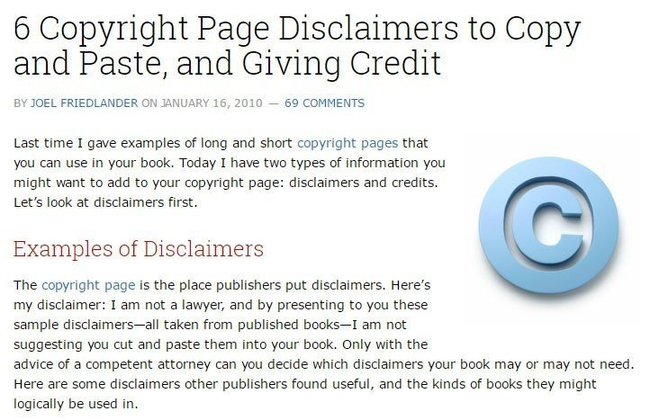 Example of legal advice disclaimer from the Book Designer website