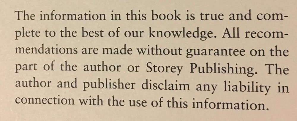 Example of disclaimer in book by Storey Publishing