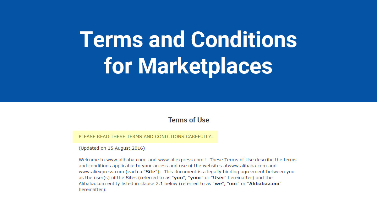 Terms and Conditions for Marketplaces
