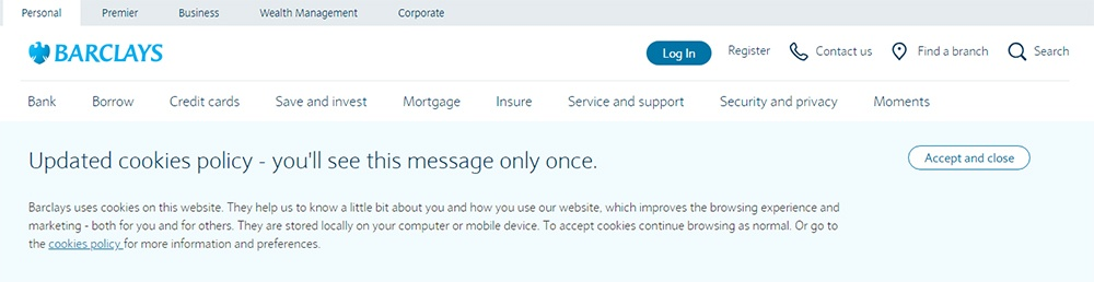 Barclays updated cookies policy notification with Accept and close button