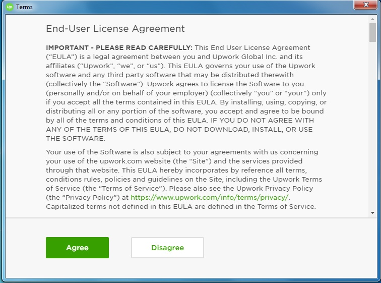 Upwork EULA scroll box with Agree and Disagree buttons