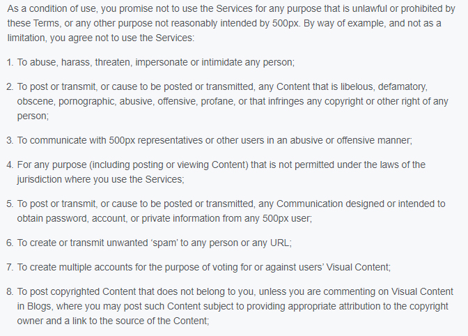 500px Terms of Use: Excerpt of User Conduct clause - Prohibited activities