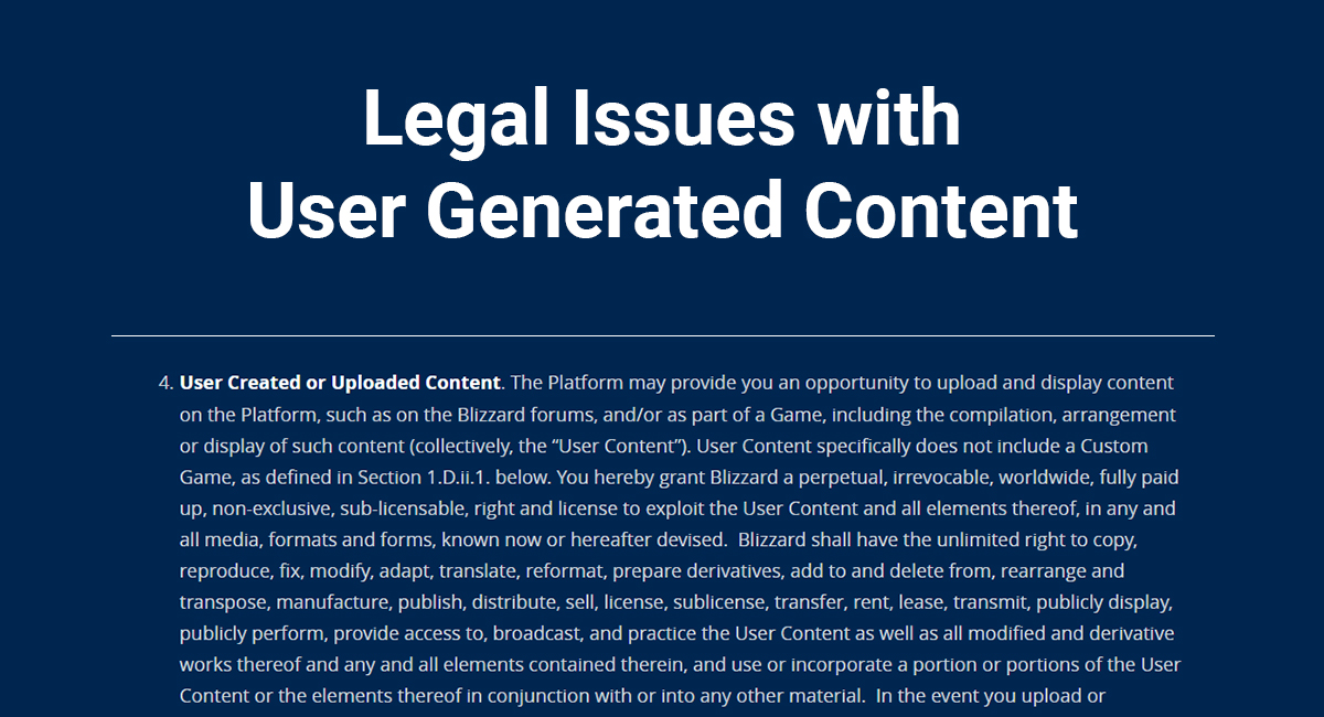 Legal Issues with User Generated Content