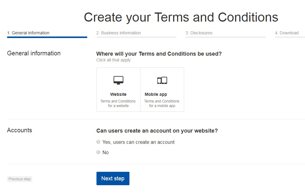 TermsFeed Terms and Conditions Generator: Create Terms and Conditions for Website - Step 1