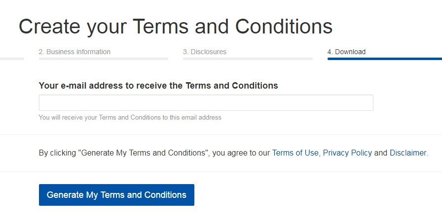 TermsFeed Terms and Conditions Generator: Enter your email address - Step 4