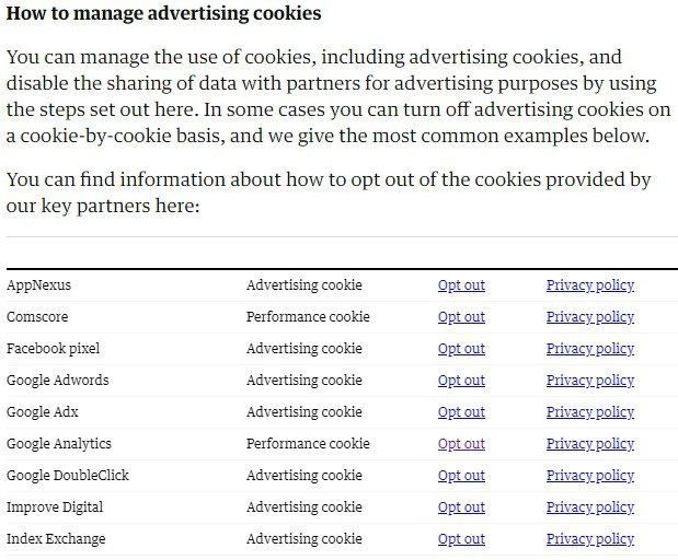 The Guardian Cookies Policy: Excerpt of How to Manage Advertising Cookies clause