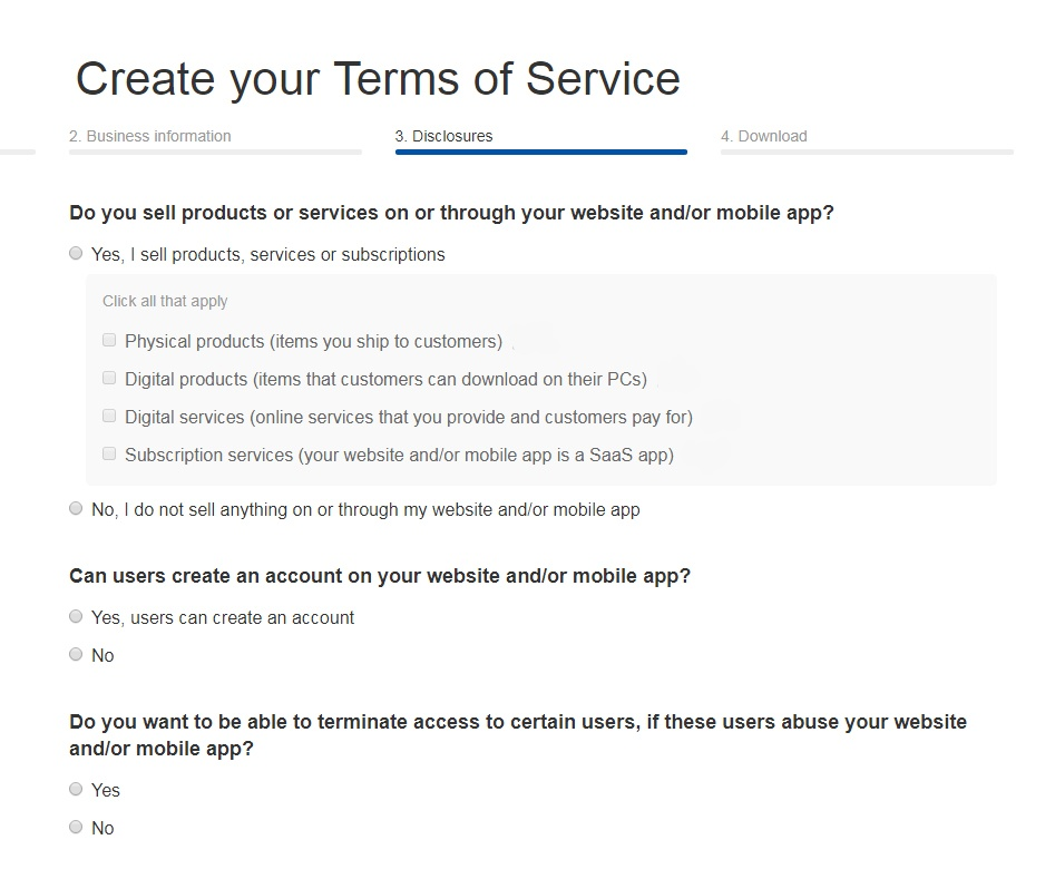 TermsFeed Terms of Service Generator: Answer questions about business practices - Step 3