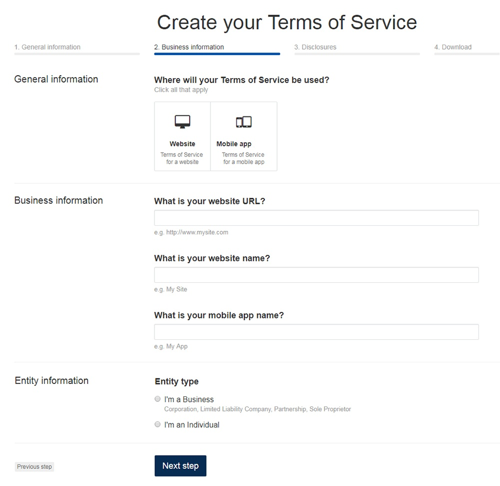 TermsFeed Terms of Service Generator: Answer questions about website - Step 2