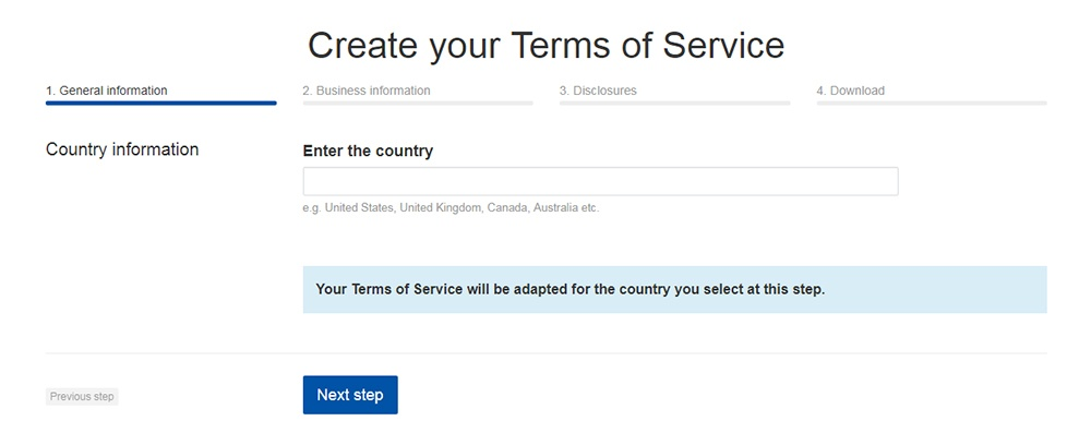 TermsFeed Terms of Service Generator: Enter the country - Step 1