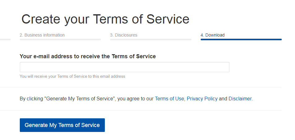 TermsFeed Terms of Service Generator: Enter your email address - Step 4