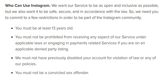 Instagram Terms of Use: Use requirements clause