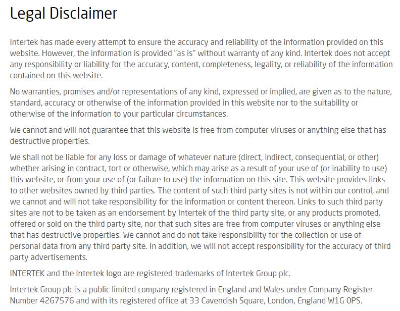 Intertek legal disclaimer