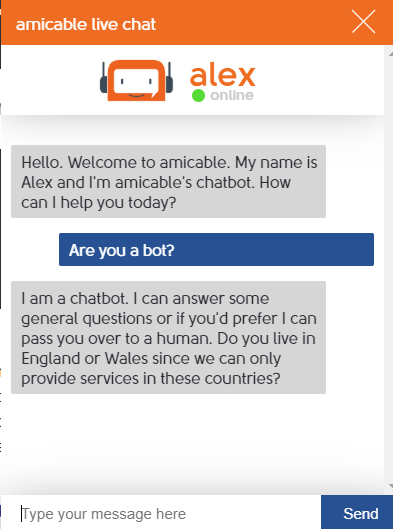 Amicable Alex chatbot disclosure example