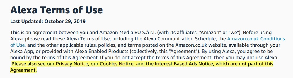 Alexa Terms of Use: Intro clause with other agreement section highlighted