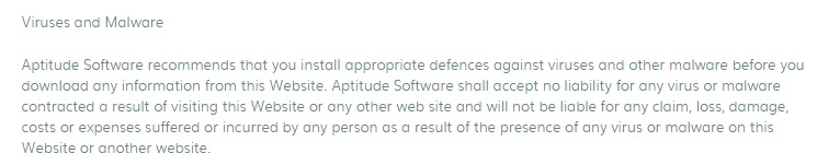 Aptitude Software Terms and Conditions: Viruses and Malware disclaimer clause