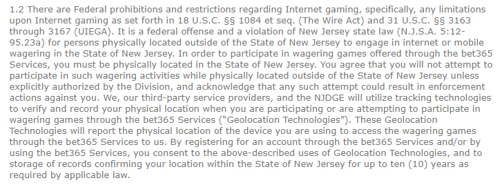 Bet365 Terms and Conditions: Federal prohibitions on gambling clause
