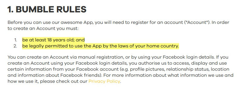 Bumble Terms and Conditions of Use: Bumble Rules clause - legal age and laws excerpt