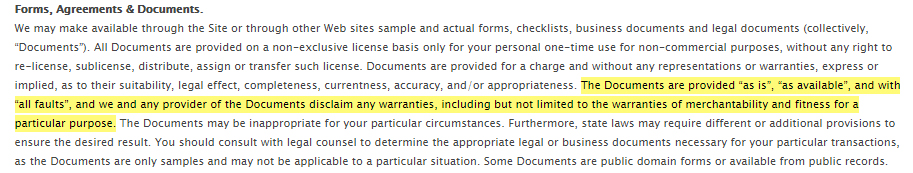 Cincinnati GI Terms of Use: Forms, Agreements and Documents clause - Warranty section highlighted