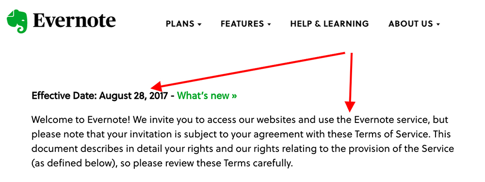 Evernote Terms of Service: Intro clause and effective date