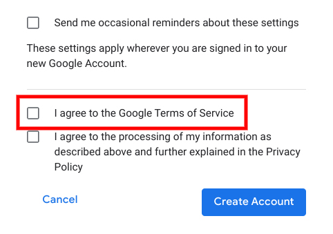 Google Create Account form with Agree to Terms of Service checkbox highlighted