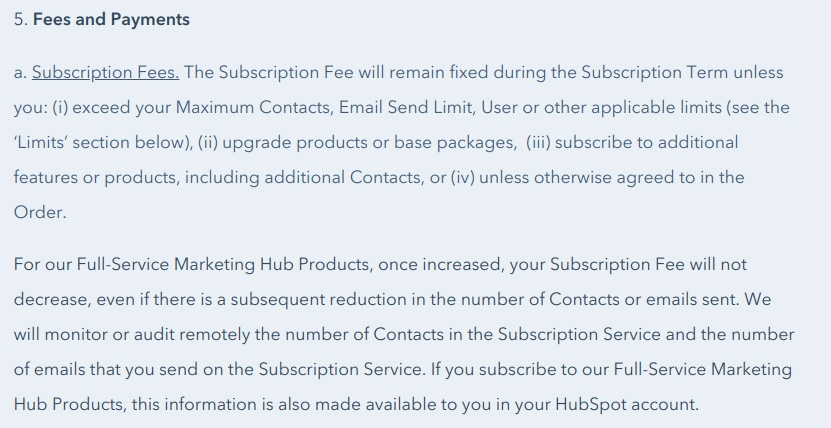 HubSpot Terms of Service: Fees and Payments - Subscription Fees clause excerpt