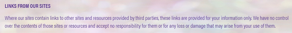 Perform Parties Terms of Use and Disclaimer: Links from our sites disclaimer clause