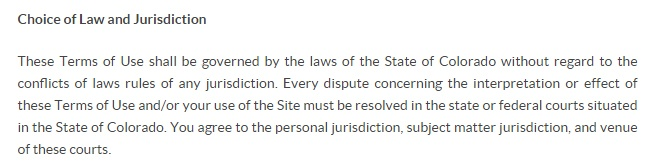 Royal Gold Terms of Use: Choice of Law and Jurisdiction clause