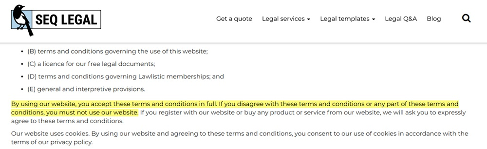 SEQ legal Terms and Conditions: Accept the Terms clause