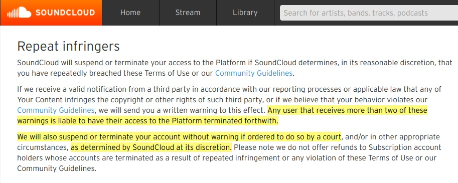 SoundCloud Terms of Use: Repeat Infringers clause