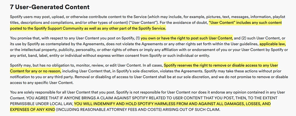 Spotify Terms and Conditions: User-Generated Content clause highlighted